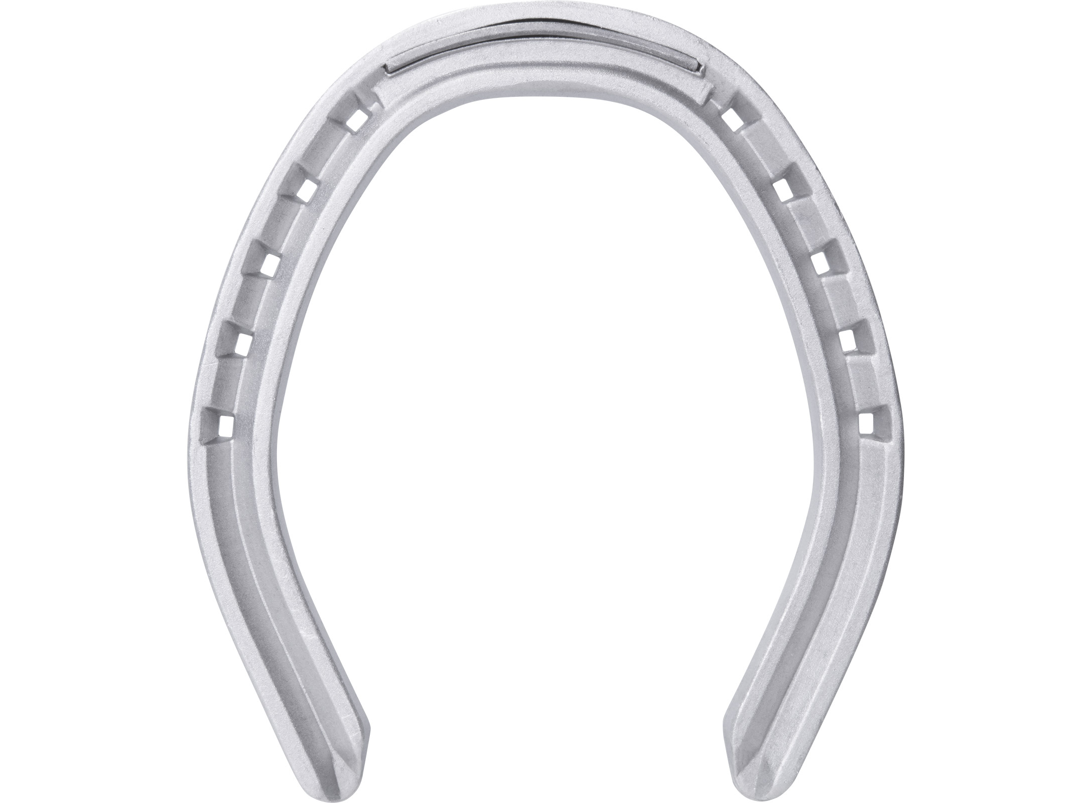 St. Croix Fullered Aluminium horseshoe, bottom side view