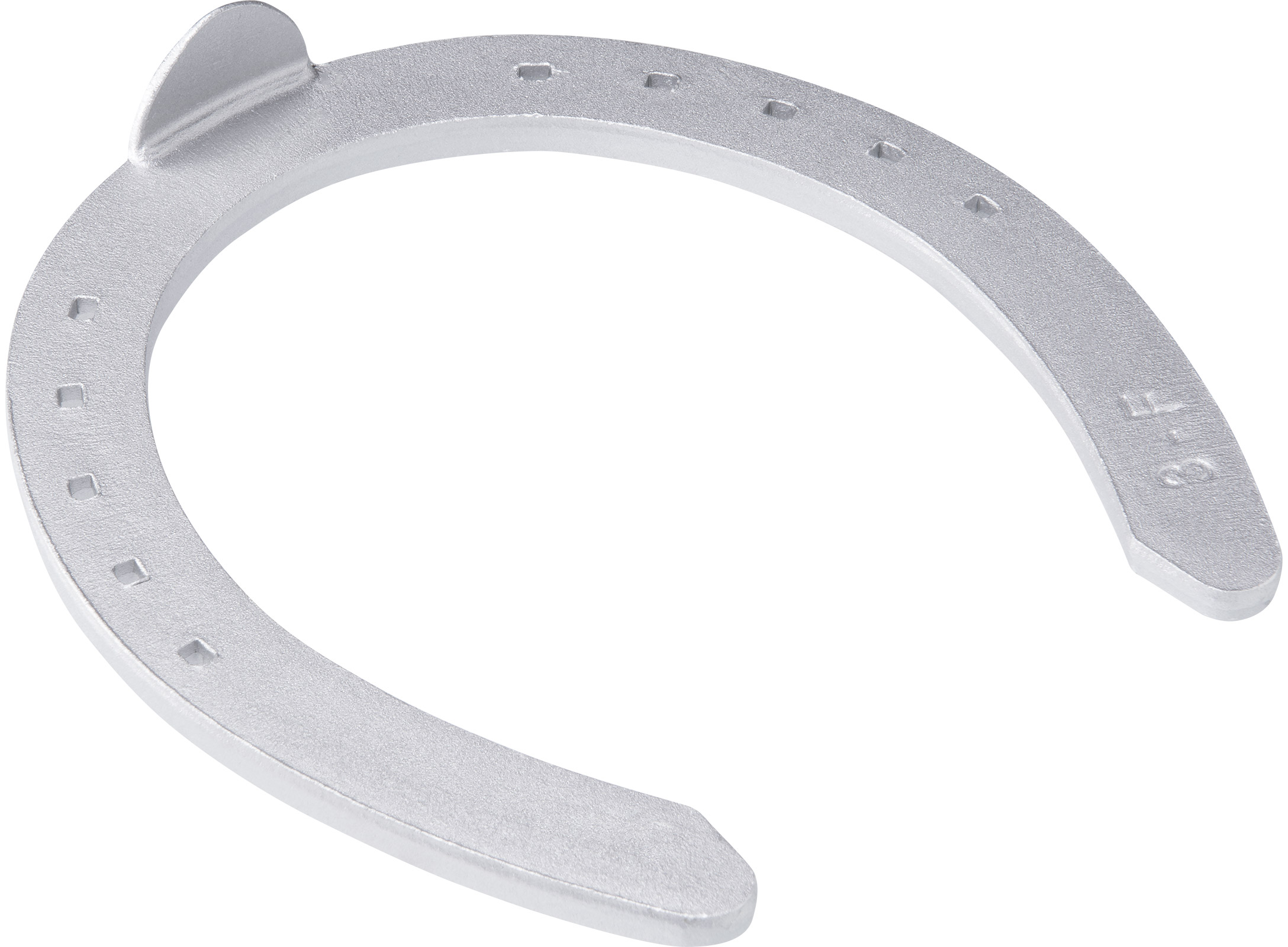 St. Croix Plain Aluminium horseshoe, hoof side view