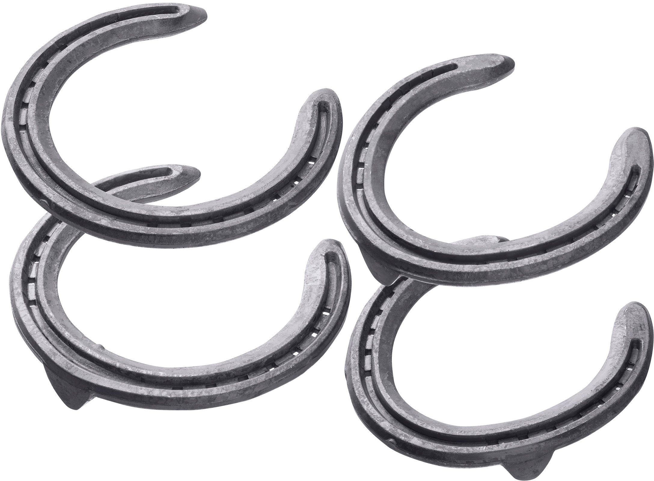 St. Croix Concorde Steel horseshoes, front unclipped and toe clip, hind toe clip and side clips, bottom side view