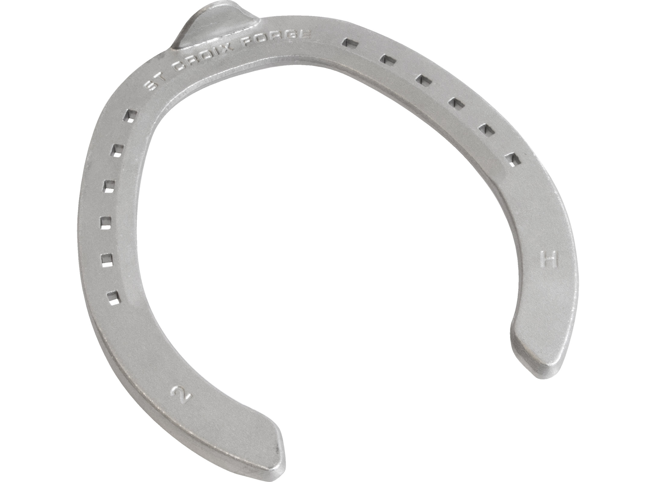 St. Croix Rapid Fullered Aluminium horseshoe, hoof side view