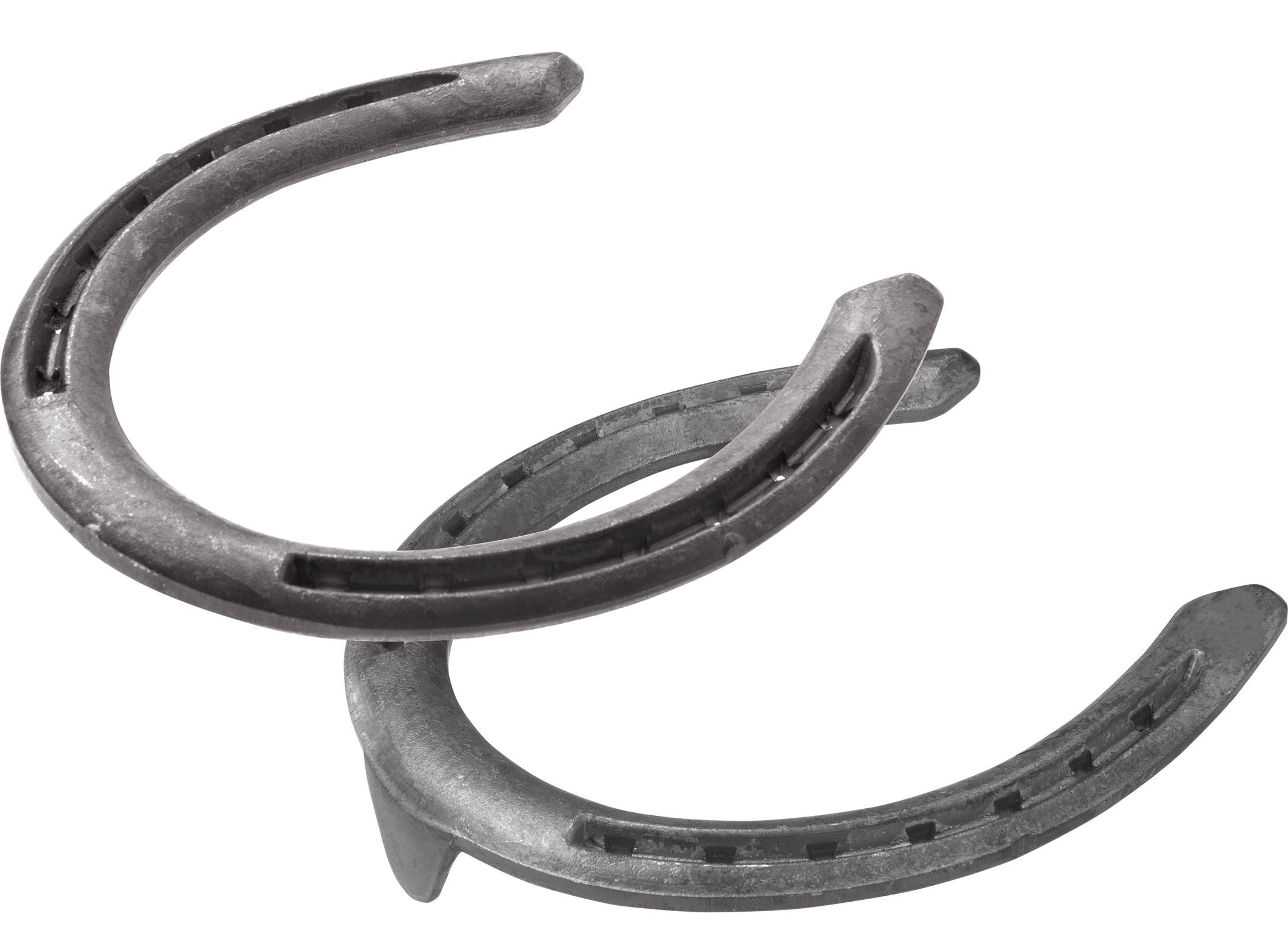 St.Croix Rapid Halfround horseshoes, hind unclipped and toe clip, bottom side view