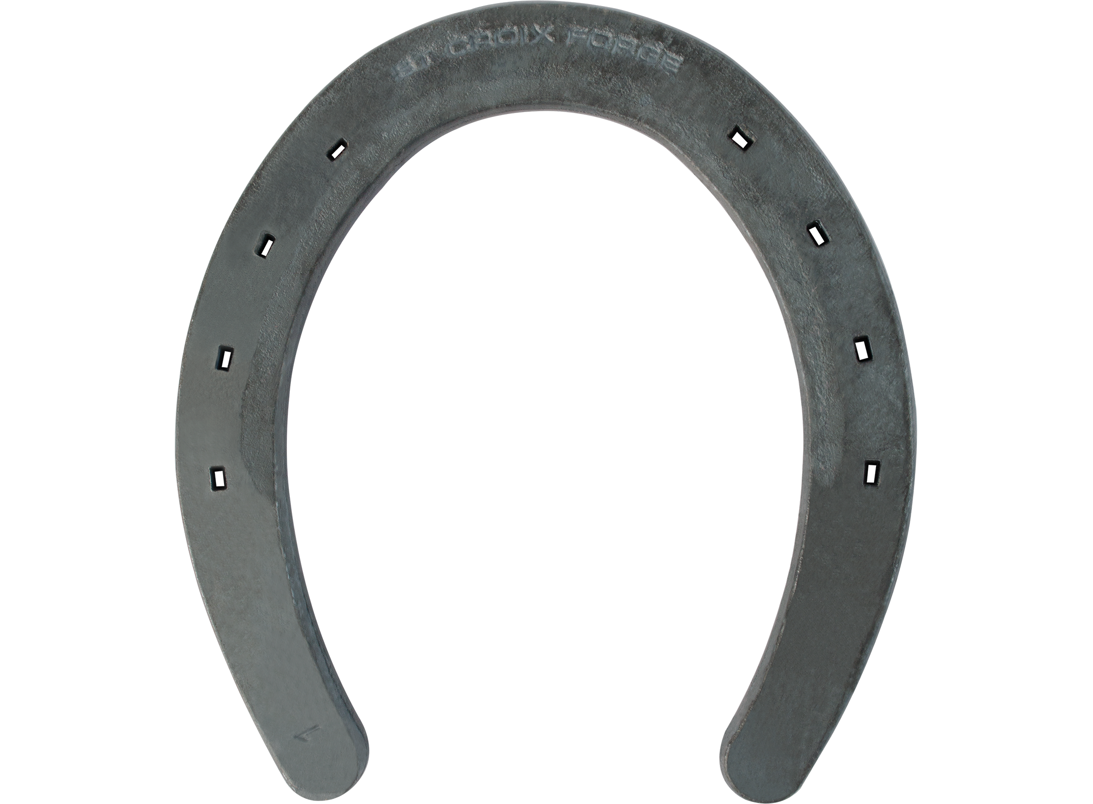 St. Croix Rim V-crease horseshoe, hoof side view